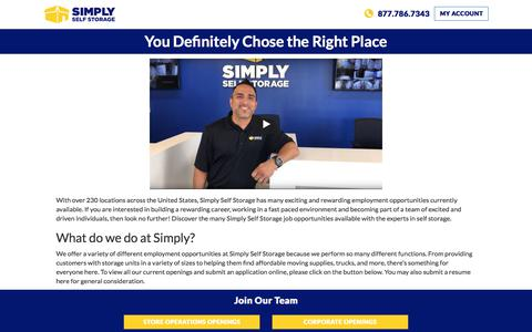 Screenshot of Jobs Page simplyss.com - Property Management & Storage Facility Jobs | Simply Storage - captured Sept. 22, 2018