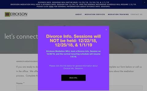 Screenshot of Contact Page ericksonmediation.com - Contact us — MN Mediation Services | Erickson Mediation - captured Dec. 15, 2018