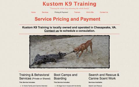 Screenshot of Pricing Page kustomk9training.com - Hampton Roads Chesapeake Dog Trainer - captured July 1, 2018