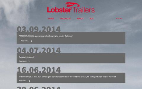 Screenshot of Press Page lobster-trailers.com - News - captured Oct. 2, 2014