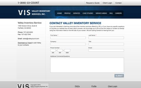 Screenshot of Contact Page valleycount.com - Contact Valley Inventory Service - captured Dec. 10, 2016