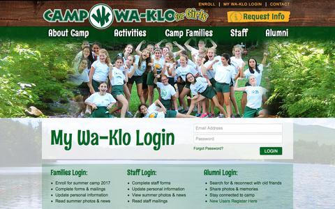 Screenshot of Login Page campwaklo.com - My Wa-Klo Login | New Hampshire Girls Summer Camp - captured July 8, 2018