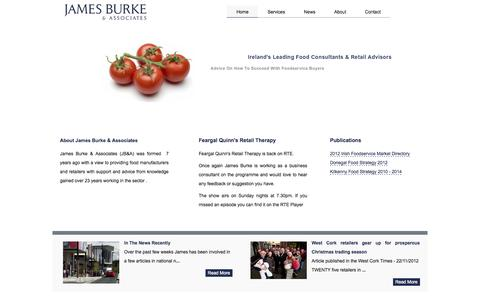 Screenshot of Home Page jamesburke.ie - James Burke & Associates | Food Consultants | Retail Consultants | Business Consultant - captured Oct. 6, 2014