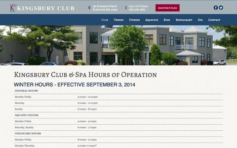 Screenshot of Hours Page kingsburyclub.com - Hours - captured Nov. 3, 2014