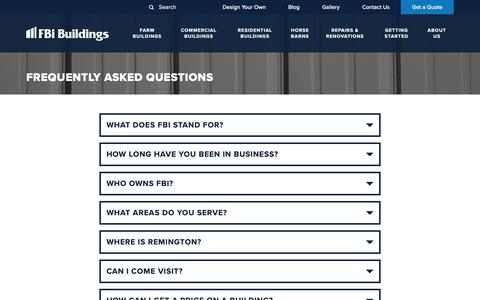 Screenshot of FAQ Page fbibuildings.com - What questions do you have? Check out this list of FAQs - captured Oct. 9, 2018