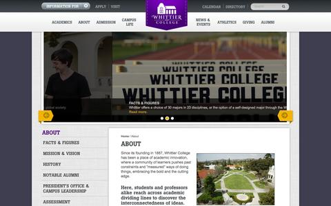 Screenshot of About Page whittier.edu - About | Whittier College - captured Nov. 4, 2014