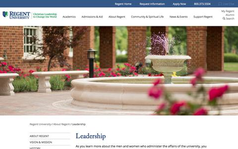 Screenshot of Team Page regent.edu - Leadership - Chancellor & Executive Leaders - Regent University - captured April 8, 2017