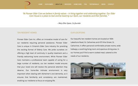 Screenshot of About Page pioneereldercare.com - Personalized Assisted Living in St. Catharines - captured Jan. 8, 2017