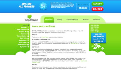 Screenshot of Terms Page easyflowers.com.au - Terms & Conditions - EASYFLOWERS - captured Sept. 25, 2014