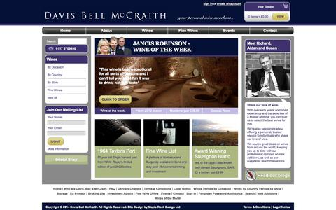 Screenshot of Home Page dbmwines.co.uk - Home » Davis Bell McCraith Wines » Your Personal Wine Merchant - captured Oct. 5, 2014