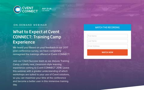 Screenshot of Landing Page cvent.com - Webinar | Cvent Connect 2018 - captured Sept. 19, 2018