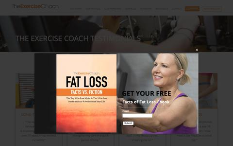 Screenshot of Testimonials Page exercisecoach.com - Testimonials & Stories of Success | The Exercise Coach - captured May 2, 2017