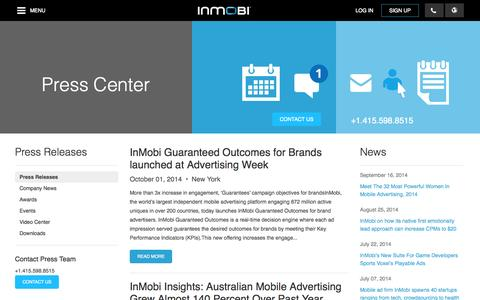 Screenshot of Press Page inmobi.com - InMobi Press Release | Mobile Advertising | Mobile Monetization - captured Oct. 10, 2014