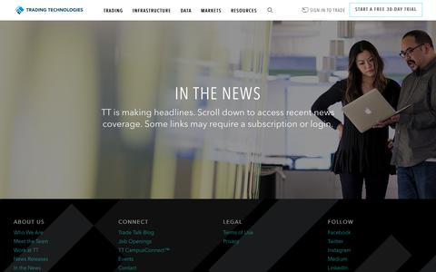 Screenshot of Press Page tradingtechnologies.com - In the News   Trading Technologies - captured March 17, 2018