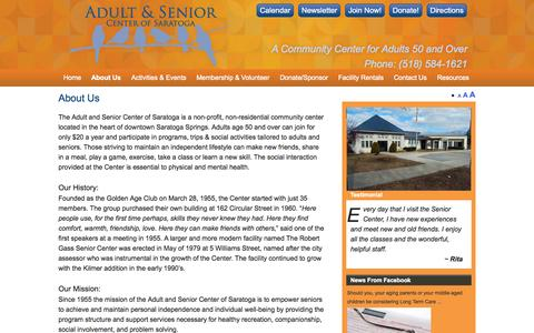 Screenshot of About Page saratogaseniorcenter.org - About Us | Adult & Senior Center of Saratoga - captured Sept. 30, 2014