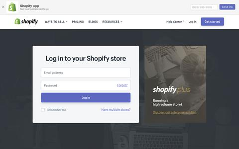 Screenshot of Login Page shopify.com - Login — Shopify - captured July 2, 2017
