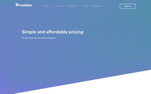 Screenshot of Pricing Page pushbots.com - PushBots :: Plans and Pricing - captured Oct. 20, 2018