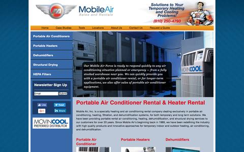 Screenshot of Home Page mobileair.com - Portable Air Conditioner Rental & Heater Rental | Mobile Air - Portable Air Conditioner and Heater Rental - captured Sept. 22, 2016