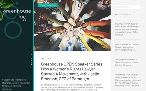 Screenshot of Blog greenhouse.io - Recruiting Blog | Greenhouse - captured Feb. 22, 2018