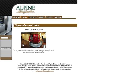 Screenshot of Locations Page alpinelitho.com - Alpine Litho-Graphics - About Us - captured Feb. 5, 2016