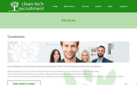 Screenshot of Services Page cleantechrecruitment.com - Services | cleantech - captured Nov. 2, 2014