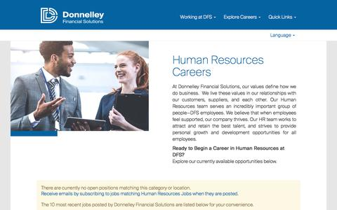 Screenshot of Jobs Page dfsco.com - Human Resources Jobs - captured June 29, 2018