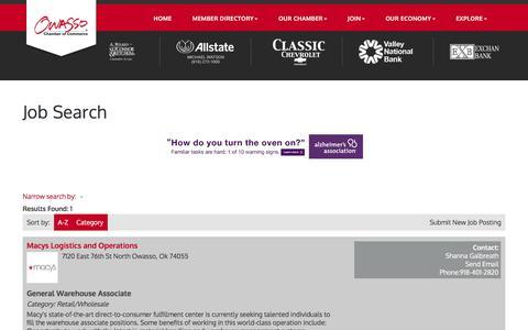 Screenshot of Jobs Page owassochamber.com - Job Search - Owasso Chamber of Commerce,OK - captured April 23, 2017