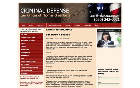 Screenshot of Testimonials Page defendca.com - Best San Mateo DUI Defense Lawyer | Criminal Defense Attorney  | DefendCA.com - captured Oct. 2, 2014