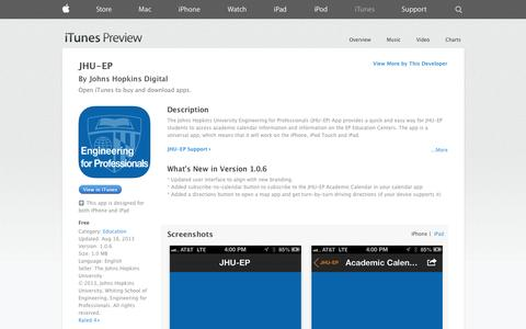 Screenshot of iOS App Page apple.com - JHU-EP on the App Store on iTunes - captured Oct. 26, 2014