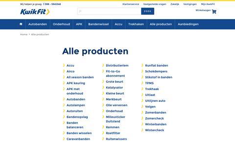 Screenshot of kwik-fit.nl - Alle producten - captured April 14, 2016