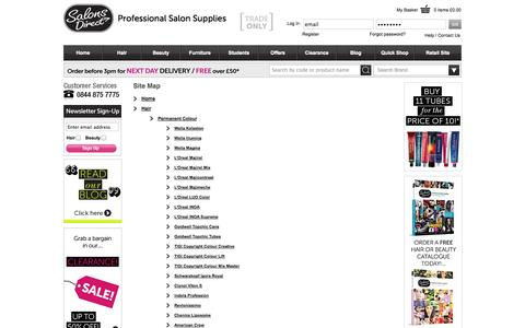 Screenshot of Site Map Page salonsdirect.com - Salons Direct   Salon Services for Hairdressing & Beauty Supplies - captured Sept. 24, 2014