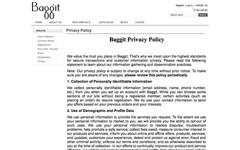 Screenshot of Privacy Page baggit.com - Privacy Policy | Baggit - captured Nov. 22, 2016