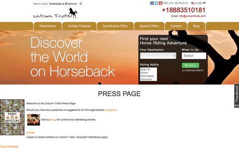 Screenshot of Press Page unicorntrails.com - press articles relating to Unicorn Trails - captured Nov. 12, 2017