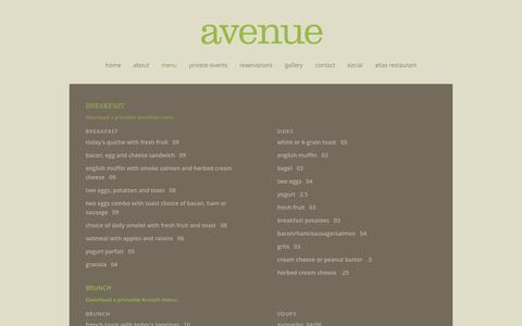 Screenshot of Menu Page avestl.com - avenue - captured Jan. 29, 2016