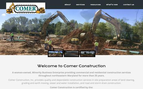 Screenshot of Home Page comerconstruction.com - Comer Construction, Inc. | - captured Sept. 29, 2018