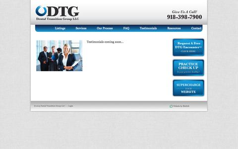 Screenshot of Testimonials Page dtgok.com - practice management consulting | Dental Transition Group LLC - captured Oct. 5, 2014