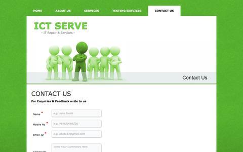 Screenshot of Contact Page ictserve.com - ICT Serve - Contact Us - captured Oct. 3, 2014