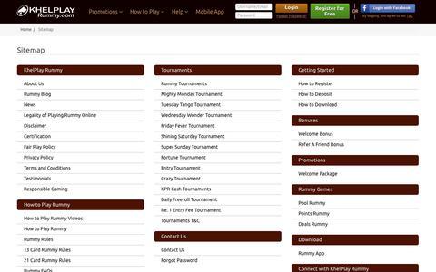 Screenshot of Site Map Page khelplayrummy.com - Sitemap | Find All the Pages of KhelPlayRummy.com - captured Sept. 22, 2018