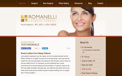 Screenshot of Testimonials Page jrcs.com - Long Island Plastic Surgeon Testimonials - Romanelli Cosmetic Surgery - captured Dec. 1, 2016