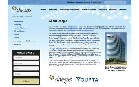Screenshot of About Page daegis.com - About Daegis - captured Oct. 2, 2014