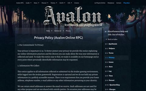 Screenshot of Privacy Page avalon-rpg.com - Privacy Policy (Avalon Online RPG) | The Complete Guide to Avalon Online RPG  | Text Based Games - captured Feb. 6, 2016