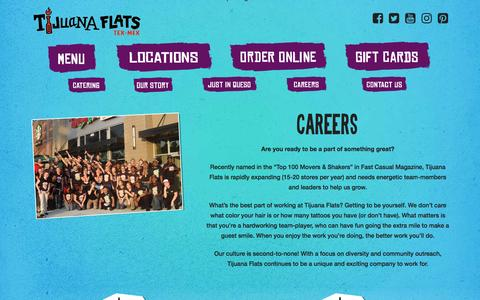 Screenshot of Jobs Page tijuanaflats.com - Careers - Tijuana Flats - captured Dec. 6, 2016
