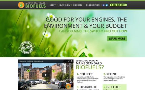 Screenshot of Home Page mainestandardbiofuels.com - Maine Standard Biofuels - Portland, Maine - captured Sept. 26, 2014