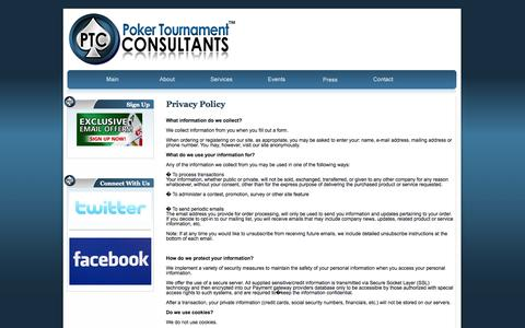 Screenshot of Privacy Page pokertournamentconsultants.com - Poker Tournament Consultants - marketing, management, staffing, experience, results - captured Sept. 30, 2014