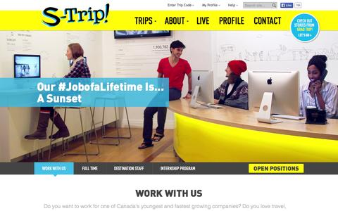 Screenshot of Jobs Page s-trip.com - Work With Us - Find Your #JobofaLifetime - captured Sept. 23, 2014