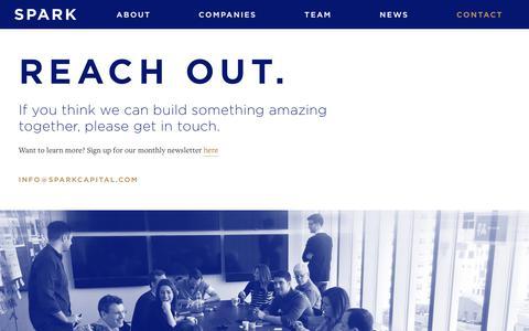 Screenshot of Contact Page sparkcapital.com - Contact | Spark Capital - captured Oct. 6, 2017