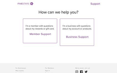 Screenshot of Support Page fivestars.com - Support | FiveStars | Customer Loyalty Programs - captured Dec. 5, 2017