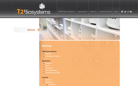 Screenshot of Site Map Page t2biosystems.com - Sitemap | T2Biosystems - captured Sept. 11, 2014