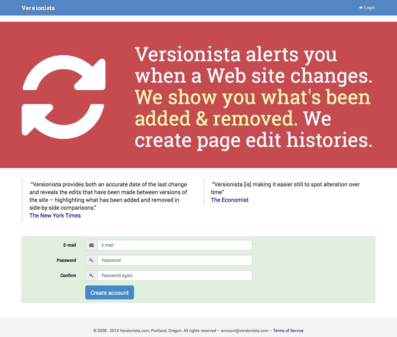 Web Design Example | A page on versionista com | Crayon
