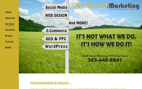 Screenshot of Services Page swobodamarketing.com - Internet Marketing & Web Design Agency | Swoboda Marketing - captured Jan. 28, 2016